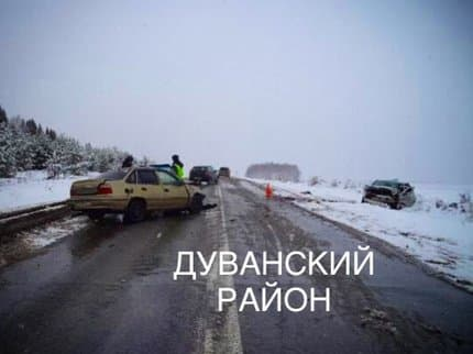 Жительница Башкирии спровоцировала аварию в Дуванском районе